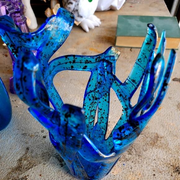 Vintage Blue/black Art Glass Vase